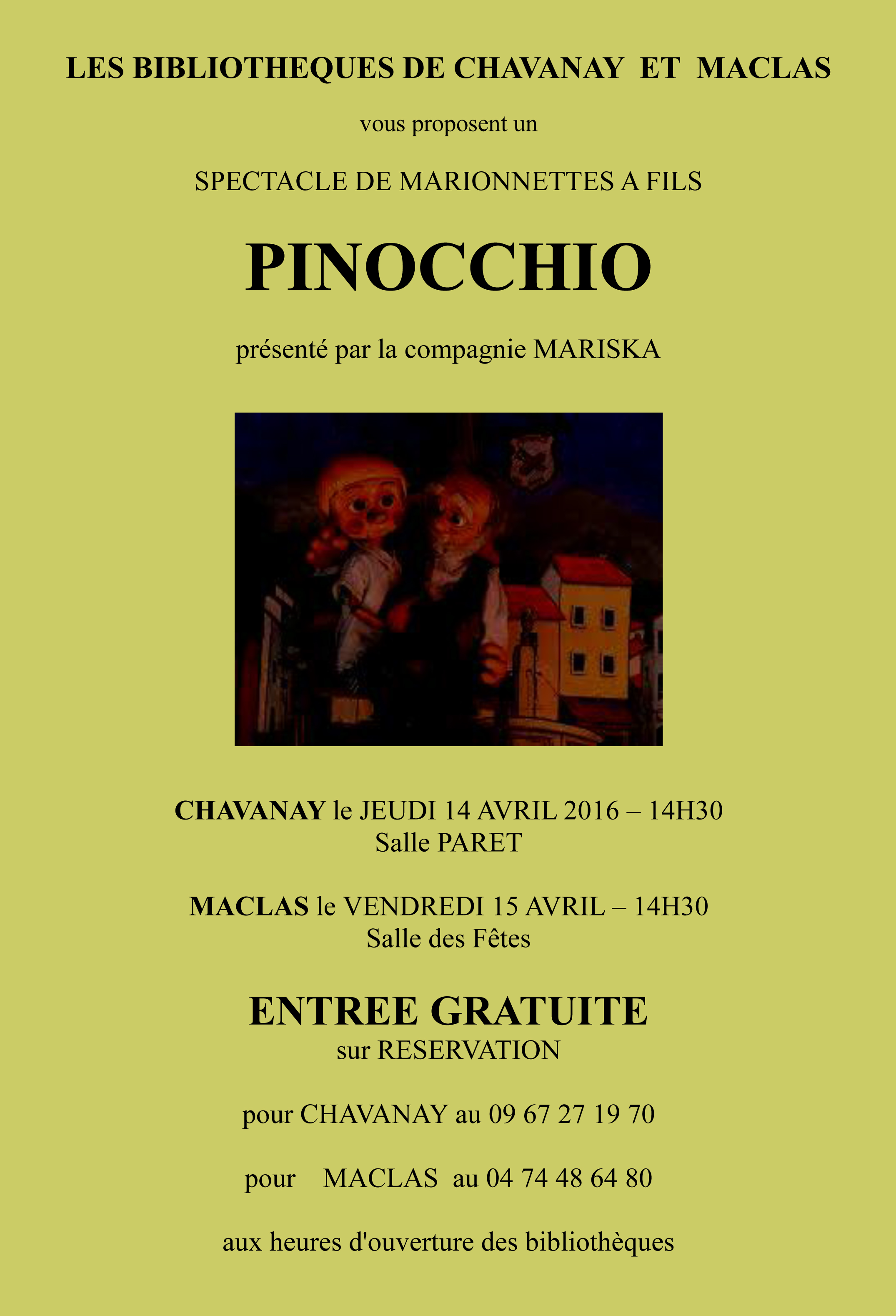 afffiche spectacle pinocchio